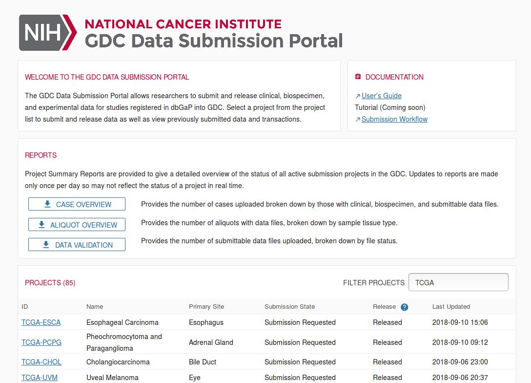 GDC Data Submission Portal