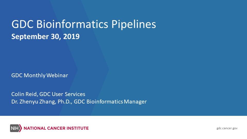 GDC Bioinformatics Pipelines